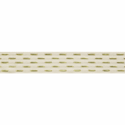 Berisfords Metallic Ribbon - Shimmer Stitch - 25mm Wide - Bridal / White