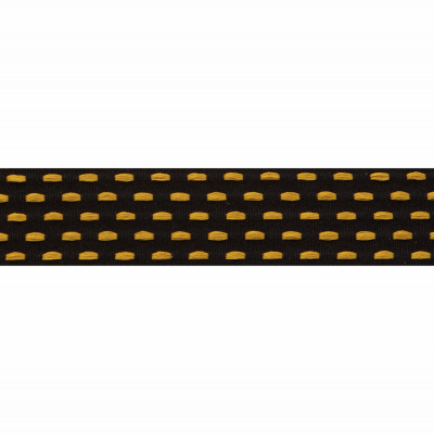 Berisfords Parallel Stitch Ribbon - 25mm Wide - Black / Marigold