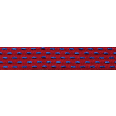 Berisfords Parallel Stitch Ribbon - 25mm Wide - Scarlet / Royal Blue
