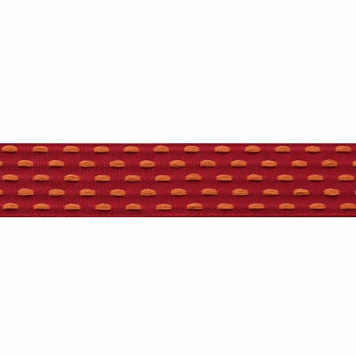Berisfords Parallel Stitch Ribbon - 25mm Wide - Deep Red / Tangerine