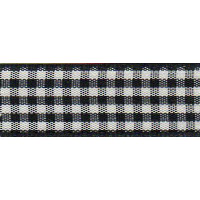 Berisfords - Gingham Ribbon - Black - 5 Widths