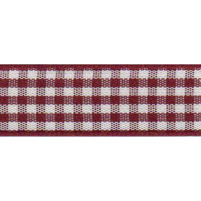 Berisfords - Gingham Ribbon - Burgundy - 5 Widths