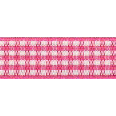 Berisfords - Gingham Ribbon - Shocking Pink - 5 Widths
