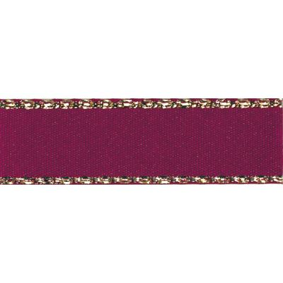 Berisfords Festive Gold Edge Satin Ribbon - 15mm Wide - Burgundy