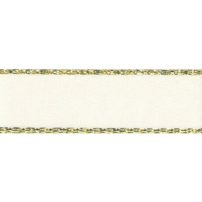 Berisfords Festive Gold Edge Satin Ribbon - 15mm Wide - Bridal White