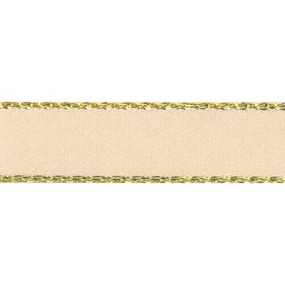 Berisfords Festive Gold Edge Satin Ribbon - 15mm Wide - Cream