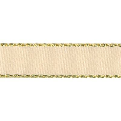 Berisfords Festive Gold Edge Satin Ribbon - 7mm Wide - Cream