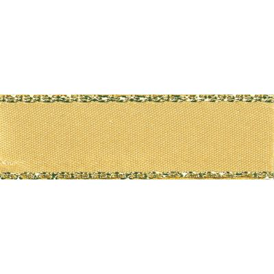 Berisfords Festive Gold Edge Satin Ribbon - 7mm Wide - Honey Gold