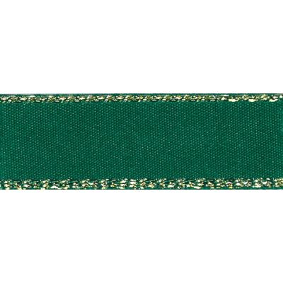 Berisfords Festive Gold Edge Satin Ribbon - 7mm Wide - Forest