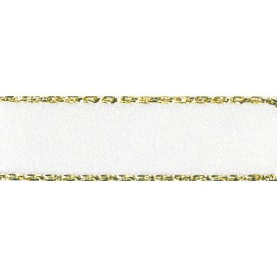 Berisfords Festive Gold Edge Satin Ribbon - 25mm Wide - White