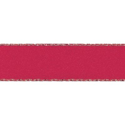 Berisfords Festive Gold Edge Satin Ribbon - 25mm Wide - Red
