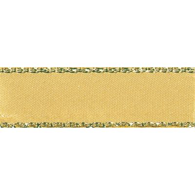 Berisfords Festive Gold Edge Satin Ribbon - 25mm Wide - Honey Gold