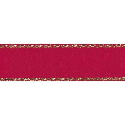 Berisfords Festive Gold Edge Satin Ribbon - 25mm Wide - Scarlet Berry