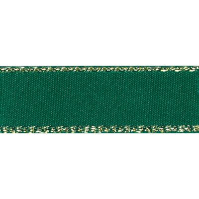 Berisfords Festive Gold Edge Satin Ribbon - 25mm Wide - Forest