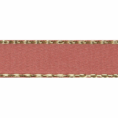 Berisfords Festive Gold Edge Satin Ribbon - 25mm Wide - Rose Gold
