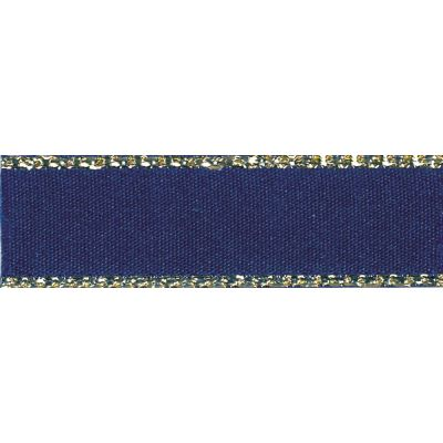 Berisfords Festive Gold Edge Satin Ribbon - 7mm Wide - Navy