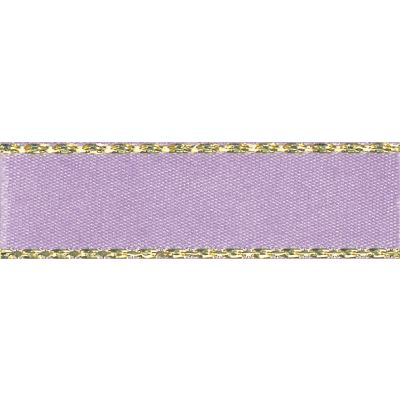 Berisfords Festive Gold Edge Satin Ribbon - 7mm Wide - Orchid