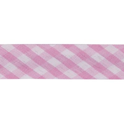 Polycotton Bias Binding - 15mm Wide Gingham - Pink