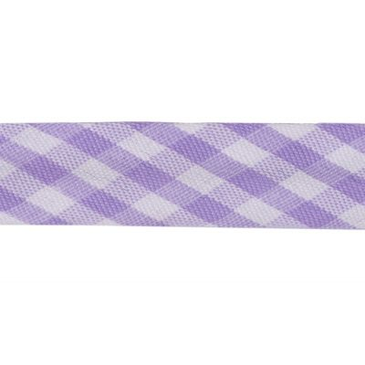 Polycotton Bias Binding - 15mm Wide Gingham - Lilac