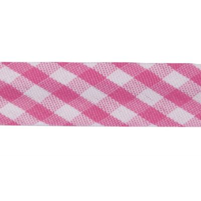 Polycotton Bias Binding - 15mm Wide Gingham - Cerise