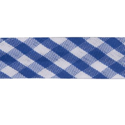 Polycotton Bias Binding - 15mm Wide Gingham - Blue
