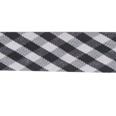 Polycotton Bias Binding - 15mm Wide Gingham - Black