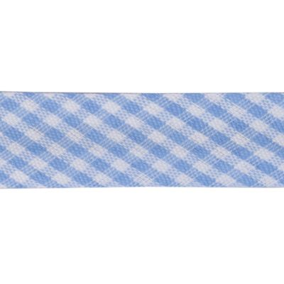 Polycotton Bias Binding - 15mm Wide Gingham - Small Sky Blue