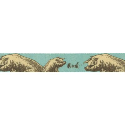 Berisfords - Pigs On Sky Blue Ribbon - 25mm Wide
