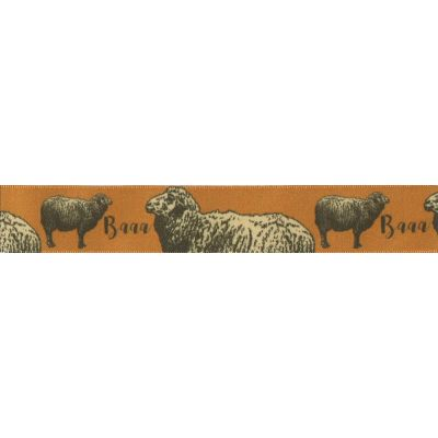 Berisfords - Sheep On Apricot Ribbon - 25mm Wide