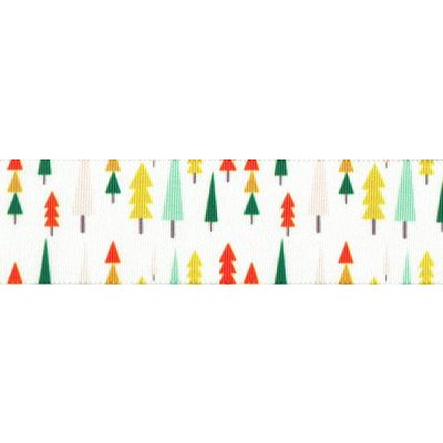 Berisfords Christmas Satin Ribbon 25mm Wide - Funky Forest - White