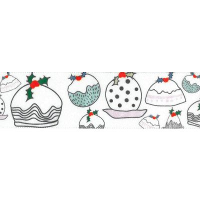 Berisfords Christmas Satin Ribbon 25mm Wide - Christmas Puddings - White