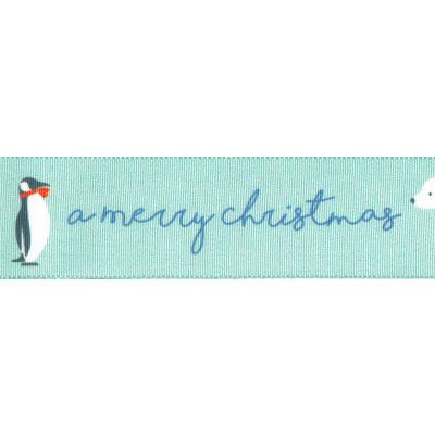 Berisfords Christmas Ribbon - Arctic Friends - 25mm Wide - Blue