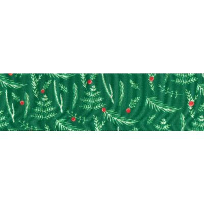 Berisfords Christmas Ribbon - Leaves & Berries - 25mm Wide - Green