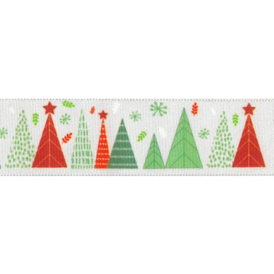Berisfords Christmas Satin Ribbon 25mm Wide - Merry Trees - White
