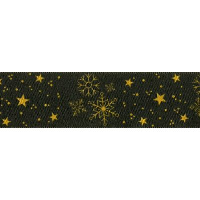 Berisfords Christmas Winter Sky Reversible Satin Ribbon 25mm Wide - Gold