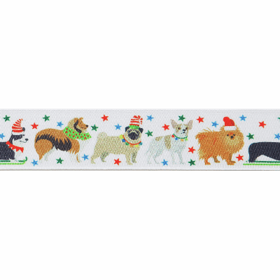 Berisfords Christmas Satin Ribbon 25mm Wide - Festive Pets - White