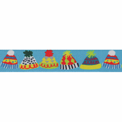 Berisfords Christmas Satin Ribbon 25mm Wide - Bobble Hats - Blue