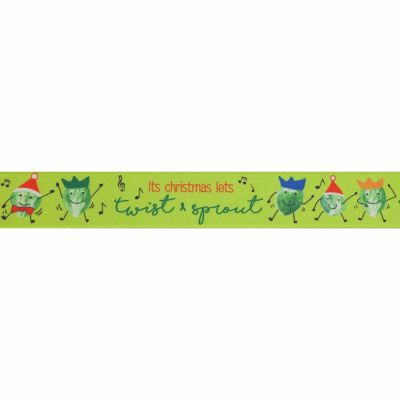 Berisfords Christmas Satin Ribbon 25mm Wide - Twist & Sprout - Green - Per Metre