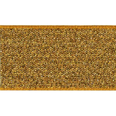 Berisfords Metallic Ribbon - Lame - 40mm Wide - Dark Gold