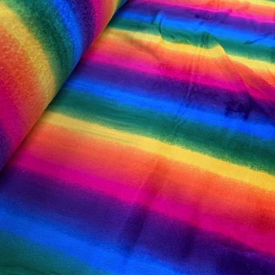 Remnant - Magnificent Rainbow Cuddle Fleece - 55 x 150cm - Creased