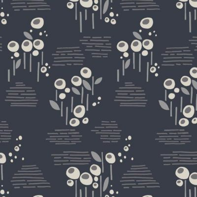 Viscose - Dashwood Grey Floral On Navy