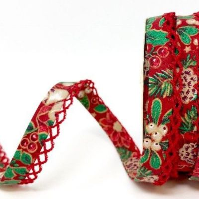 Byesta Fany Lace Edge Poinsettia On Red Christmas Bias Binding - 12mm Wide