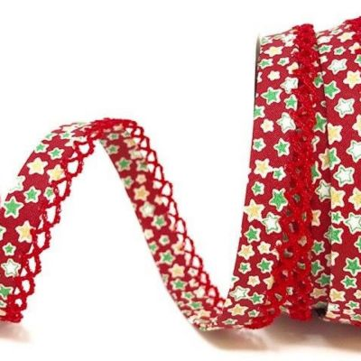 Byesta Fany Lace Edge Stars On Red Christmas Bias Binding - 12mm Wide
