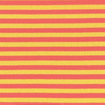 Stretch Cotton Interlock Jersey Knit - Red And Yellow 7mm Stripes