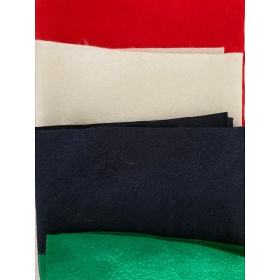 Remnant - Remnant Wool Felt Strips: : Red - Navy - Green - Natural - 1m x 90cm approx