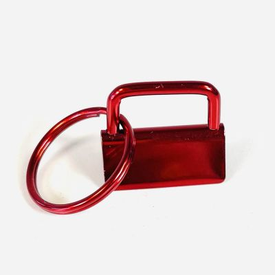 Key Ring - Metal Key Fob Hardware Clasp With Split Ring - 25mm - Red Colour