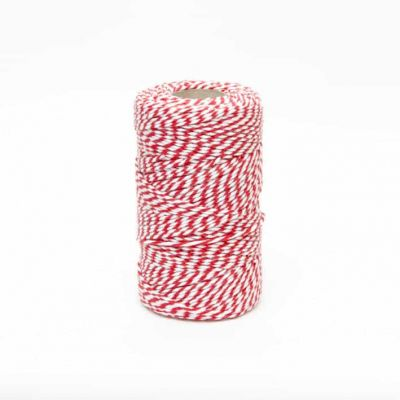 REMNANT - Bakers Twine Red & White - 15m LENGTH