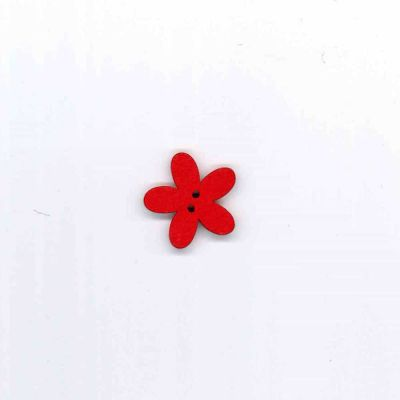 Wooden Daisy Button 22mm - Red