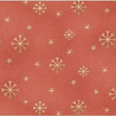 Red Rooster All Things Christmas Gold Snowflakes On Red Cut Length