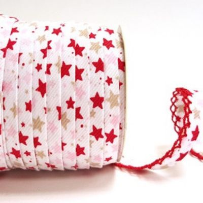 Byesta Fany Lace Edge Pink & Red Stars On White Bias Binding - 12mm Wide
